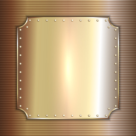 rivets: Vector precious metal golden plate with rivets background Illustration