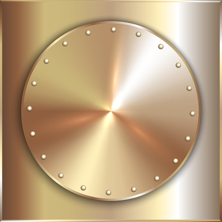 shiny metal background: Vector precious metal round golden plate with rivets