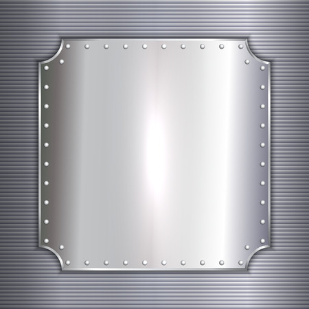 precious metal: Vector precious metal silver plate with rivets background