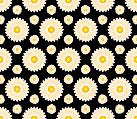 Vector abstract seamless pattern background with camomile  flowers