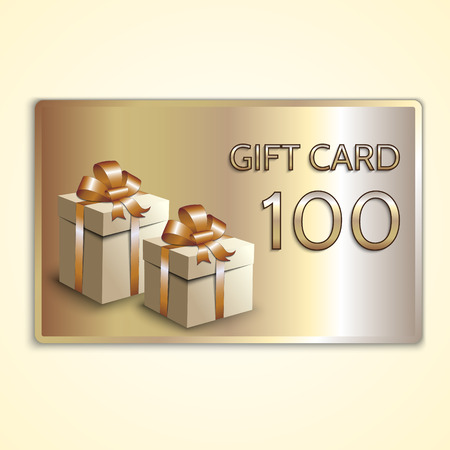 Vector abstract golden gift card with boxes Çizim