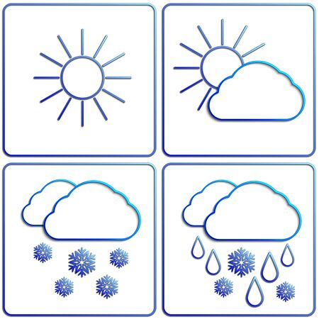 Vector abstract winter day weather flat image set