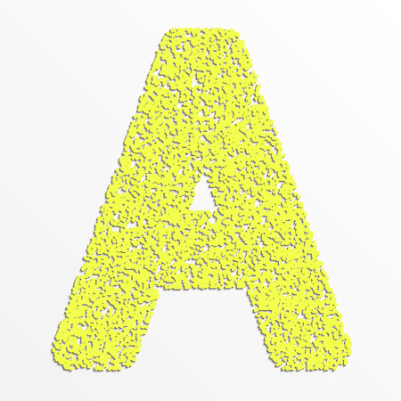 Vector multi color alphabet with grain texture, letter A Illustration