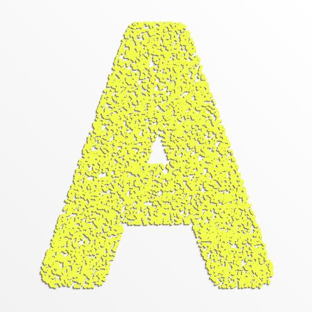 Vector multi color alphabet with grain texture, letter A Çizim