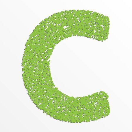 Vector multi color alphabet with grain texture, letter C