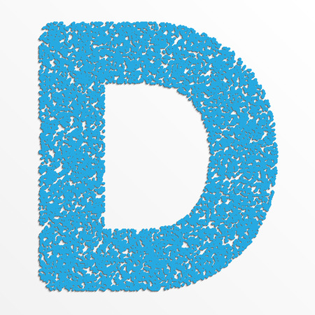 Vector multi color alphabet with grain texture, letter D
