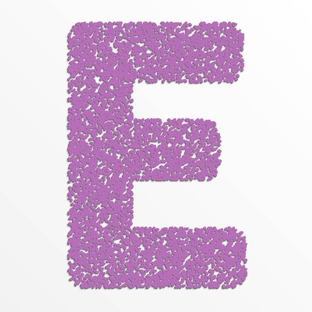 Vector multi color alphabet with grain texture, letter E