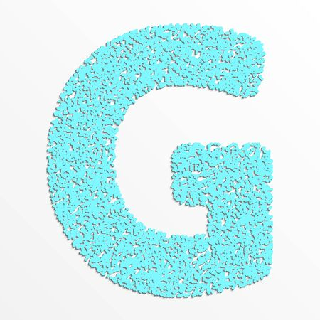 Vector multi color alphabet with grain texture, letter G Illustration