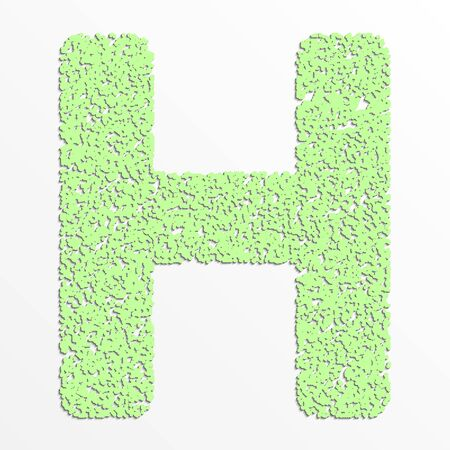 Vector multi color alphabet with grain texture, letter H