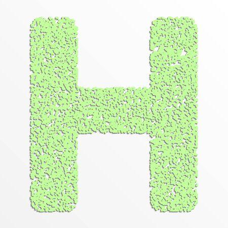 grain: Vector multi color alphabet with grain texture, letter H