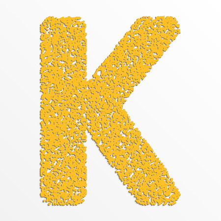 Vector multi color alphabet with grain texture, letter K Illustration