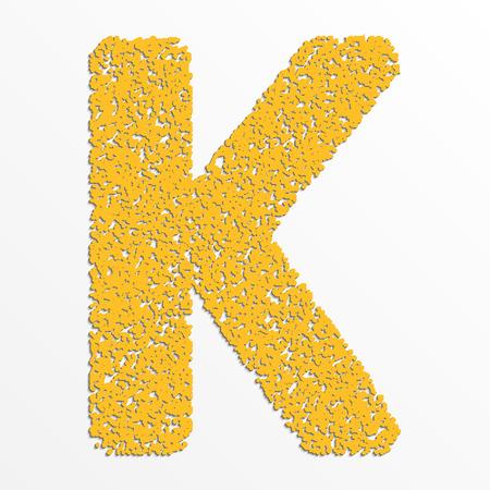 Vector multi color alphabet with grain texture, letter K Çizim