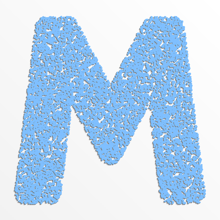 Vector multi color alphabet with grain texture, letter M Çizim