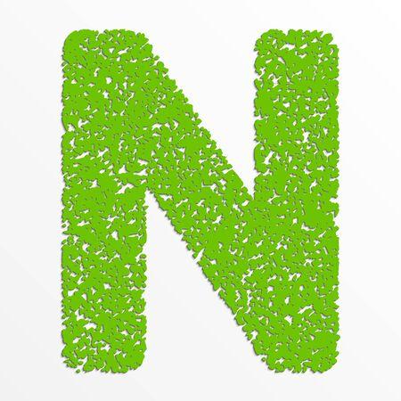Vector multi color alphabet with grain texture, letter N Ilustração