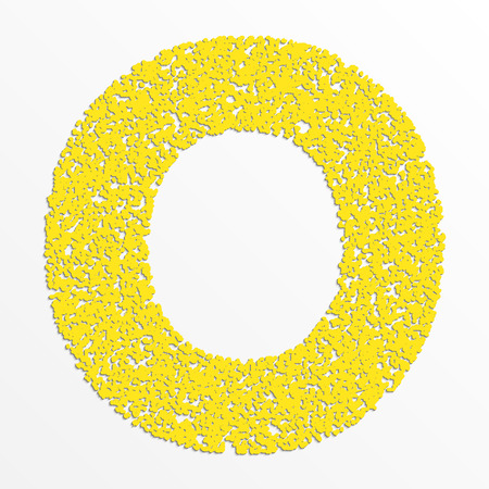 Vector multi color alphabet with grain texture, letter O