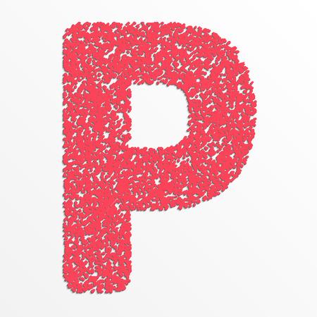 Vector multi color alphabet with grain texture, letter P Ilustração