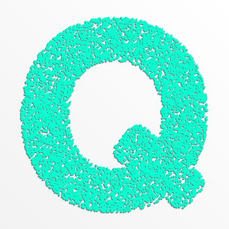 Vector multi color alphabet with grain texture, letter Q