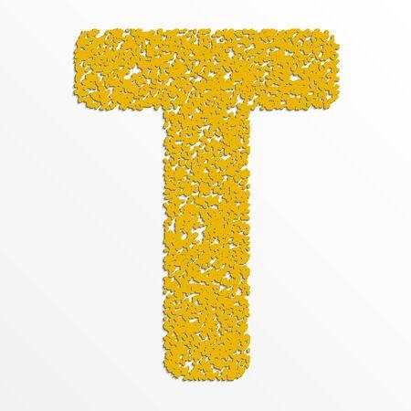 Vector multi color alphabet with grain texture, letter T