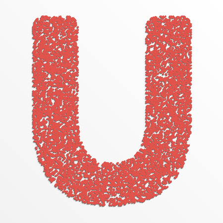 Vector multi color alphabet with grain texture, letter U