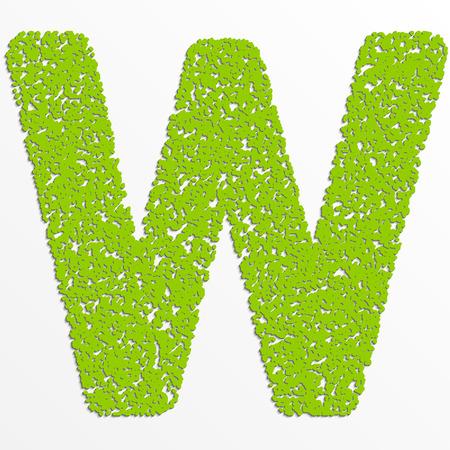 Vector multi color alphabet with grain texture, letter W
