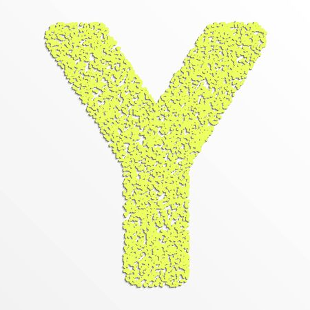 Vector colorful English or Latin alphabet items with grain texture, letter Y