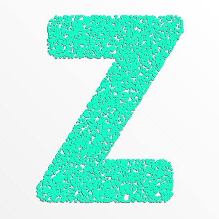 Vector colorful English or Latin alphabet items with grain texture, letter Z