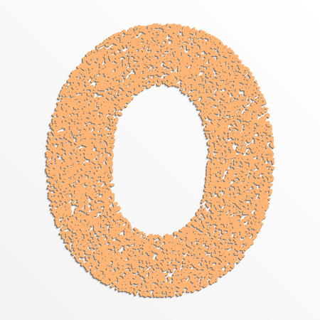 grain: Vector colorful digits with grain texture, digit 0