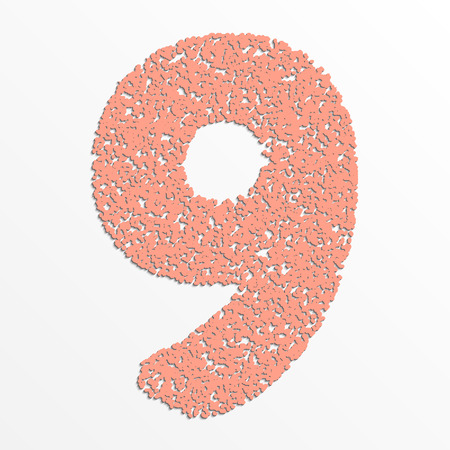 Vector colorful digits with grain texture, digit 9