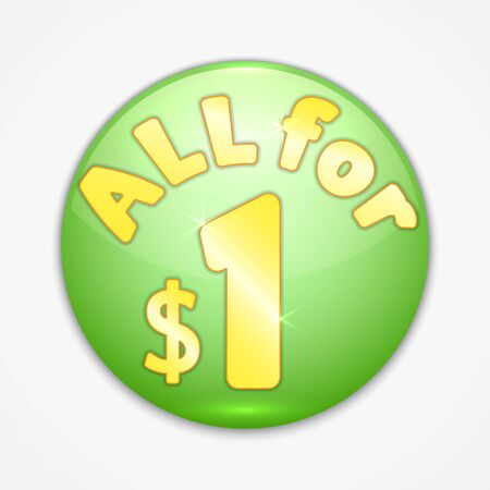 abstract round green sticker all for one dollar
