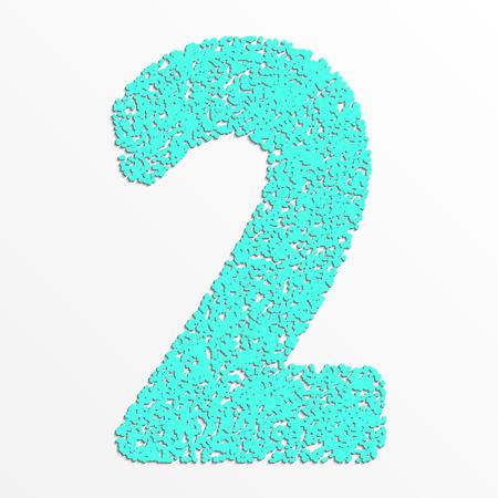 grain:  colorful digits with grain texture, digit 2
