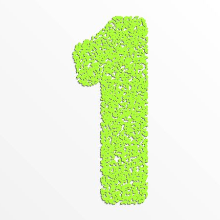 1: colorful digits with grain texture, digit 1 Illustration
