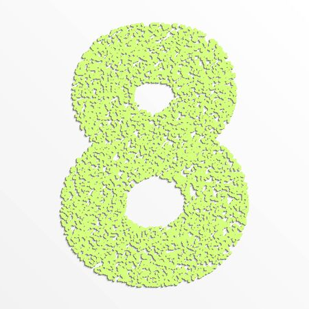 grain: colorful digits with grain texture, digit 8 Illustration