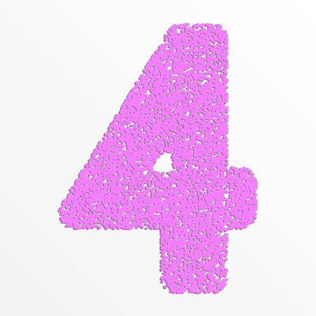 grain: colorful digits with grain texture, digit 4