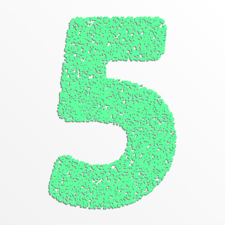 colorful digits with grain texture, digit 5 Çizim