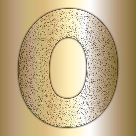 metalic texture: Vector metalic gold digits with grain texture, digit 0