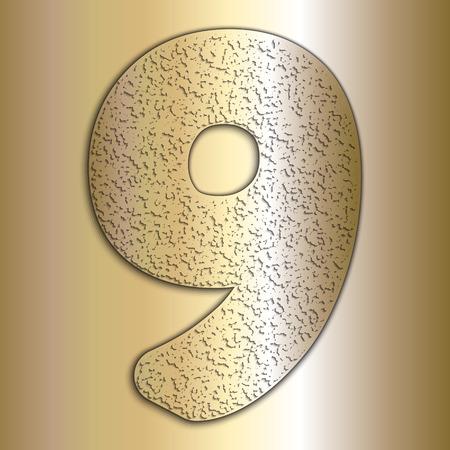 metalic texture: Vector metalic gold digits with grain texture, digit 9