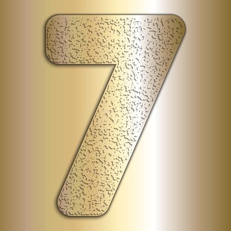 metalic texture: Vector metalic gold digits with grain texture, digit 7