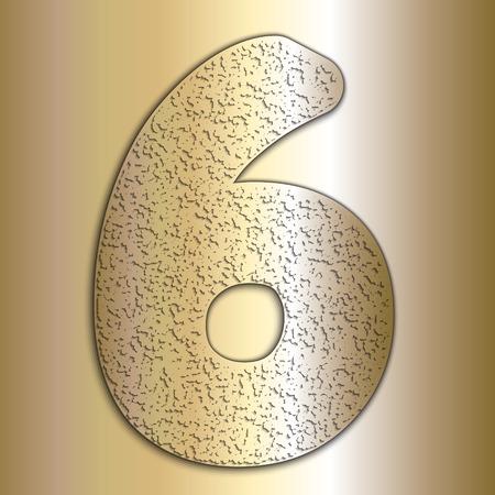 Vector metálicos dígitos de oro con textura de grano, dígito 6 Foto de archivo - 41177957
