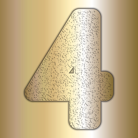 Vector metalic gold digits with grain texture, digit 4