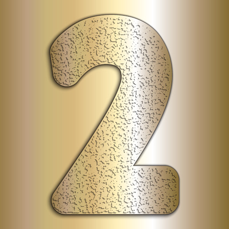 Vector metalic gold digits with grain texture, digit two