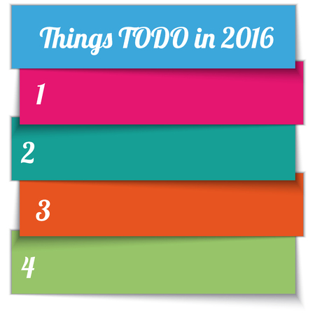 todo: Vector New Year Resolution multi color todo List template for 2016
