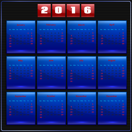 january 1st: Calendar 2016 vector four seasons, Sunday first american week, 12 months,  blue on black Illustration