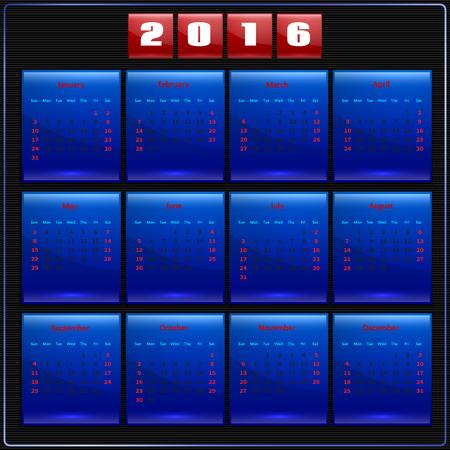 Calendar 2016 vector four seasons, Sunday first american week, 12 months,  blue on black Çizim
