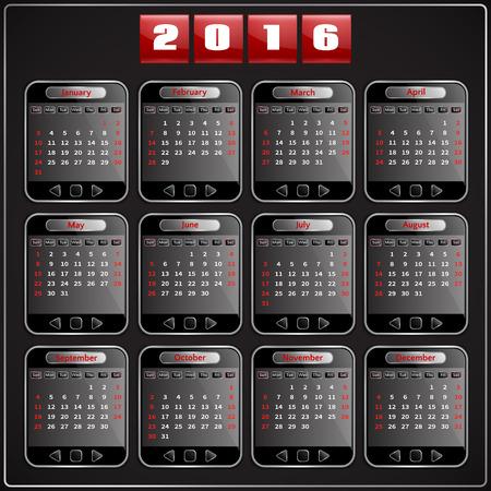 Calendar 2015 vector Sunday first american week 12 months, techno gadget digital style Çizim
