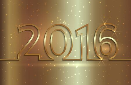 Vector illustration of 2016 new year golden greeting billboard with gold wire Çizim