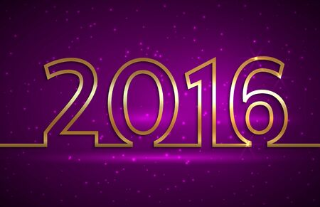 Vector illustration of 2016 new year gold and purple greeting billboard with gold wire Çizim