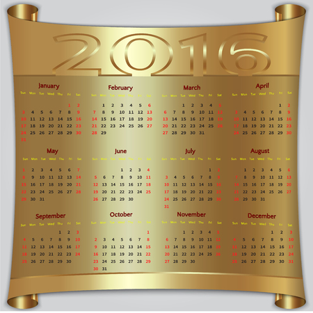 january 1st: Vector calendar for 2016 year,  Sunday first, american week, 12 months, gold metallic scroll