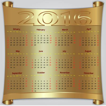 Vector calendar for 2016 year,  Sunday first, american week, 12 months, gold metallic scroll