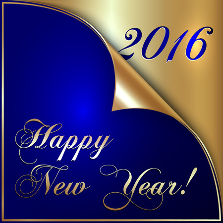 Vector illustration of 2016 new year gold and dark blue greeting card with curled corner Çizim