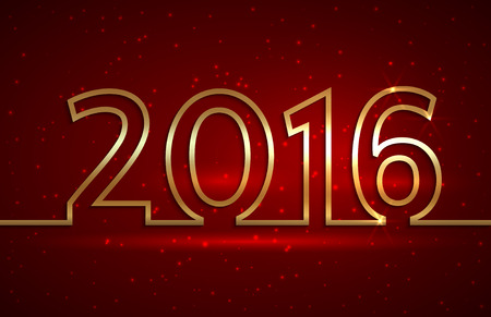 Vector illustration of 2016 new year red greeting billboard with gold wire